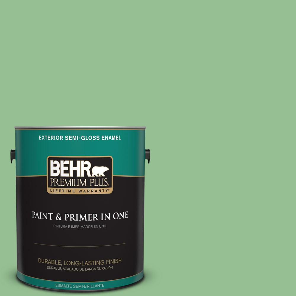 BEHR Premium Plus 1-gal. #450D-5 Velvet Leaf Semi-Gloss Enamel Exterior Paint