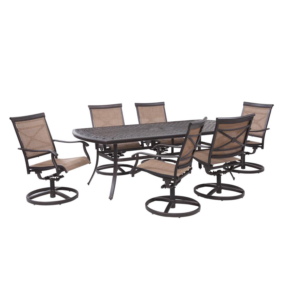 Hampton Bay Covina 7 Piece Aluminum Outdoor Dining Set As J 252 3nr