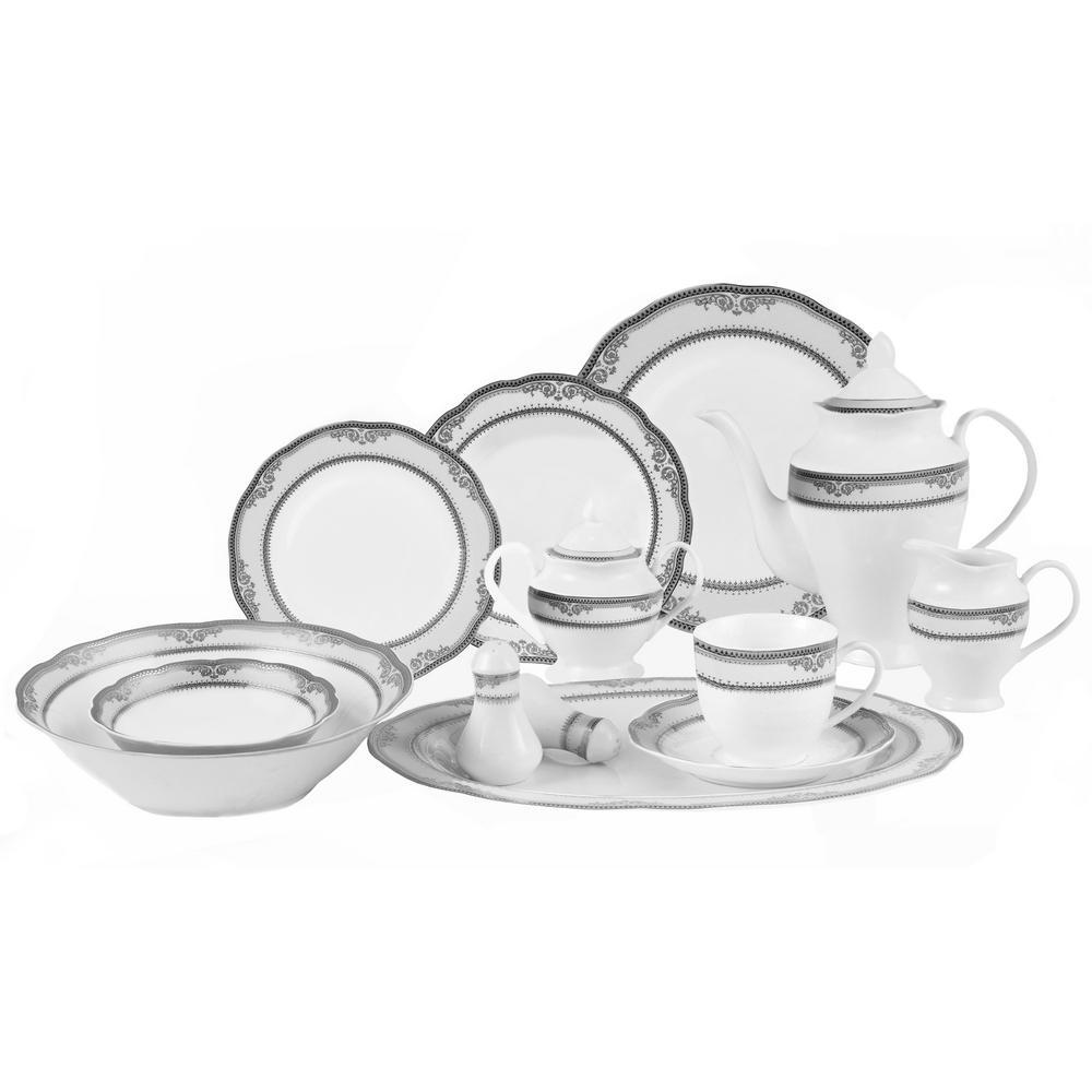 57-Piece Wavy Edge Silver Border Dinnerware Set