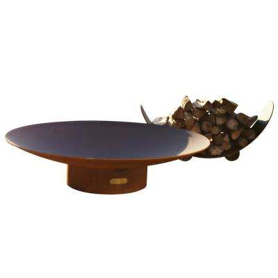 Asia 48 in. Carbon Steel Fire Pit in Iron Oxide with Brass Burner Lava Rock Flex Line Kit and Plate