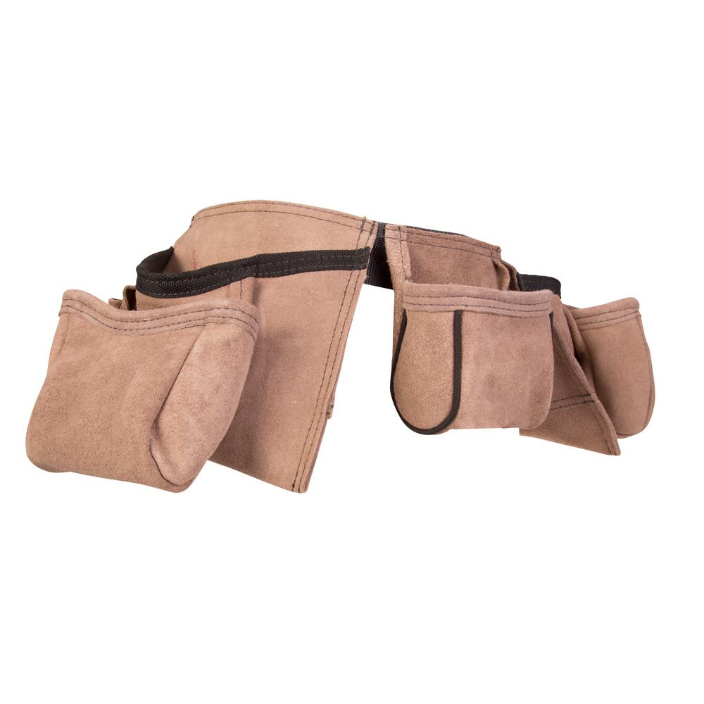 11-Pocket Leather Tool Belt Pouch Apron, Tan