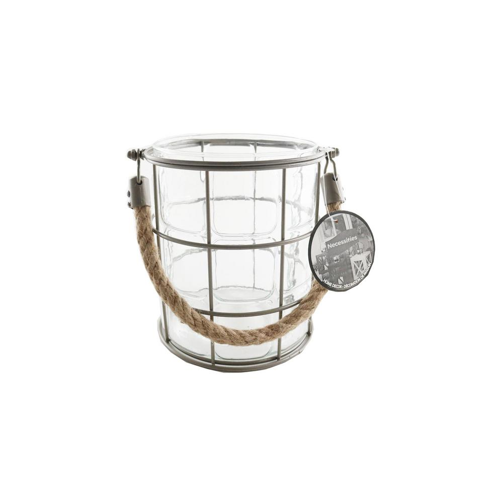 6-1/2 in. x 5-1/2 in. Glass Candle Holder with Hemp Handle