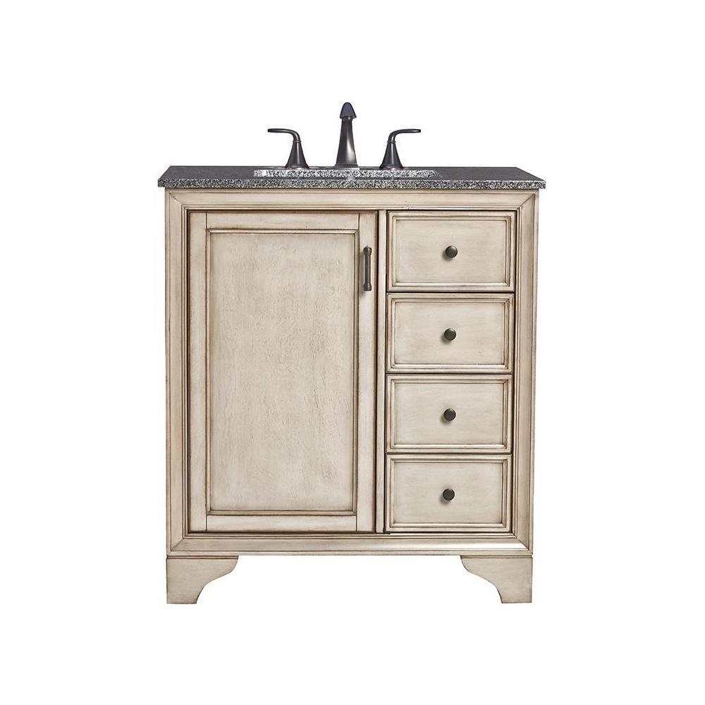 Home Decorators Collection Hazelton 31 In W X 22 In D Bath Vanity In Antique Grey With Granite
