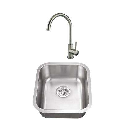 Undermount Stainless Steel 16-1/8 in. Medium Single Bowl Bar Sink with Faucet in Brushed Nickel
