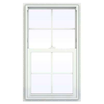23.5 in. x 35.5 in. V-2500 Series White Vinyl Single Hung Window with Colonial Grids/Grilles