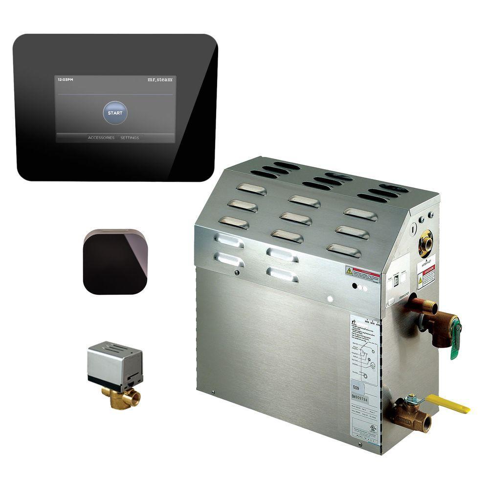 6kW Steam Bath Generator with iSteam 2.0 AutoFlush Package in Black