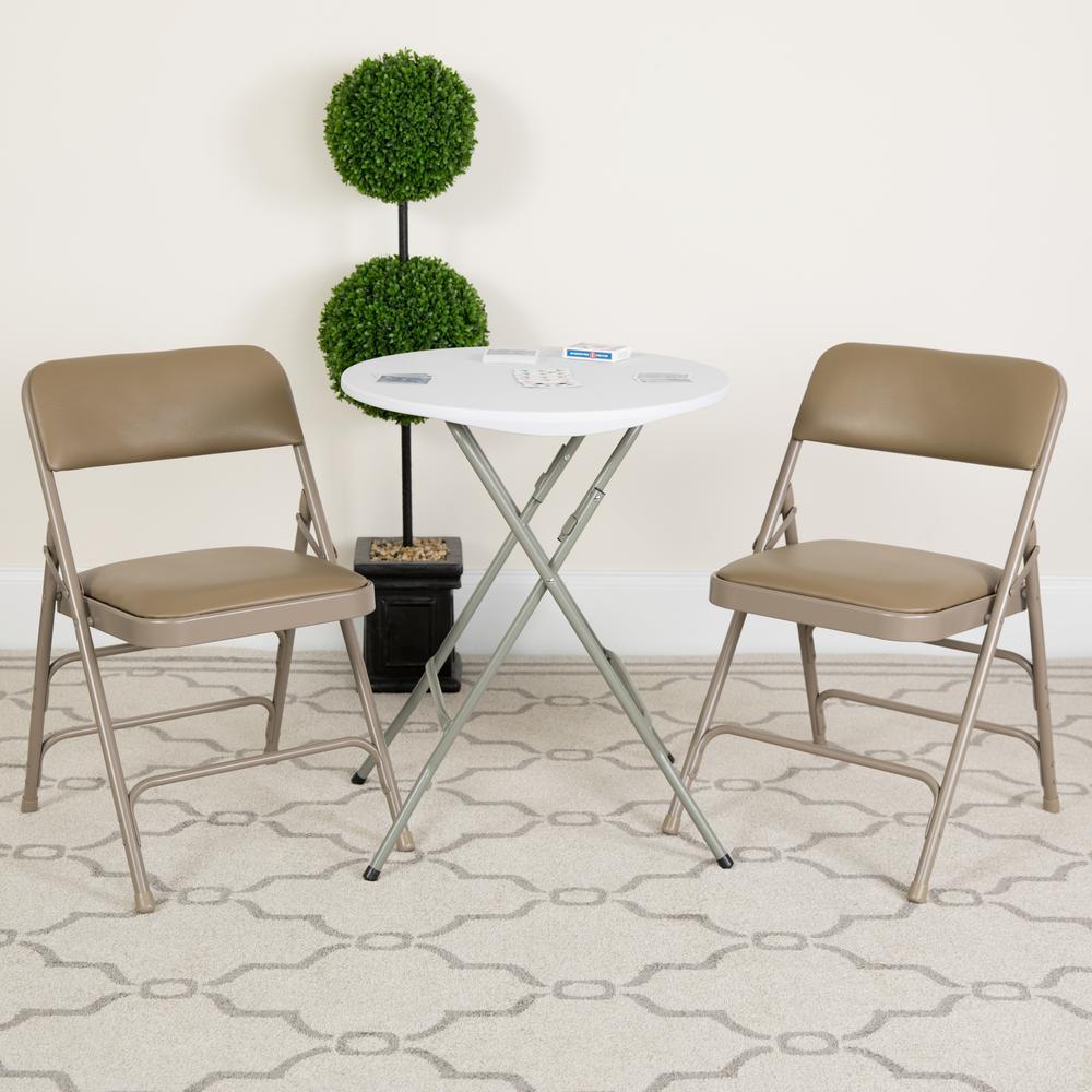Hercules Series Curved Triple Braced & Double Hinged Beige Vinyl Upholstered Metal Folding Chair