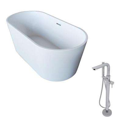 Dover 67 in. Acrylic Classic Freestanding Flatbottom Non-Whirlpool Bathtub in White and Sens Faucet in Chrome