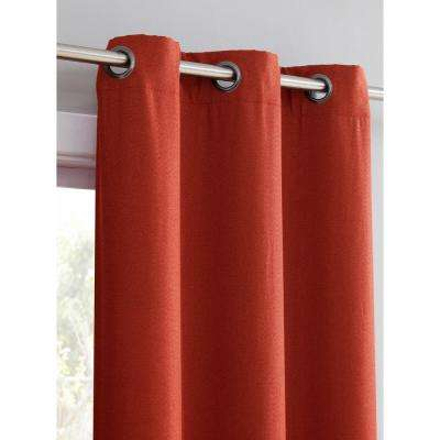 Henley Faux Linen Room Darkening 76 in. x 96 in. Grommet Curtain Panel Pair in Chili