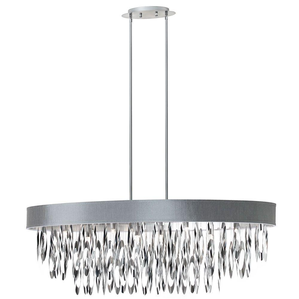 Allegro 8-Light Polished Chrome Oval Chandelier with Silver Shade
