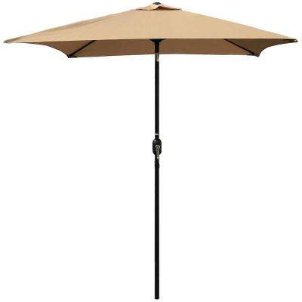 6.5 ft. Steel Crank and Tilt Square Market Patio Umbrella in Tan