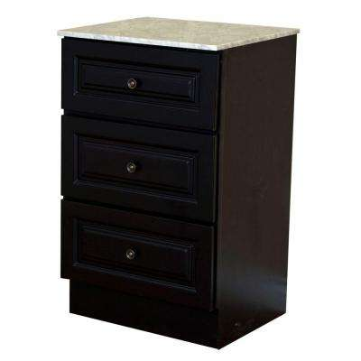 Newry 20 in. W x 33 in. H x 18 in. D Bathroom Linen Cabinet with Marble Vanity Top in Dark Mahogany