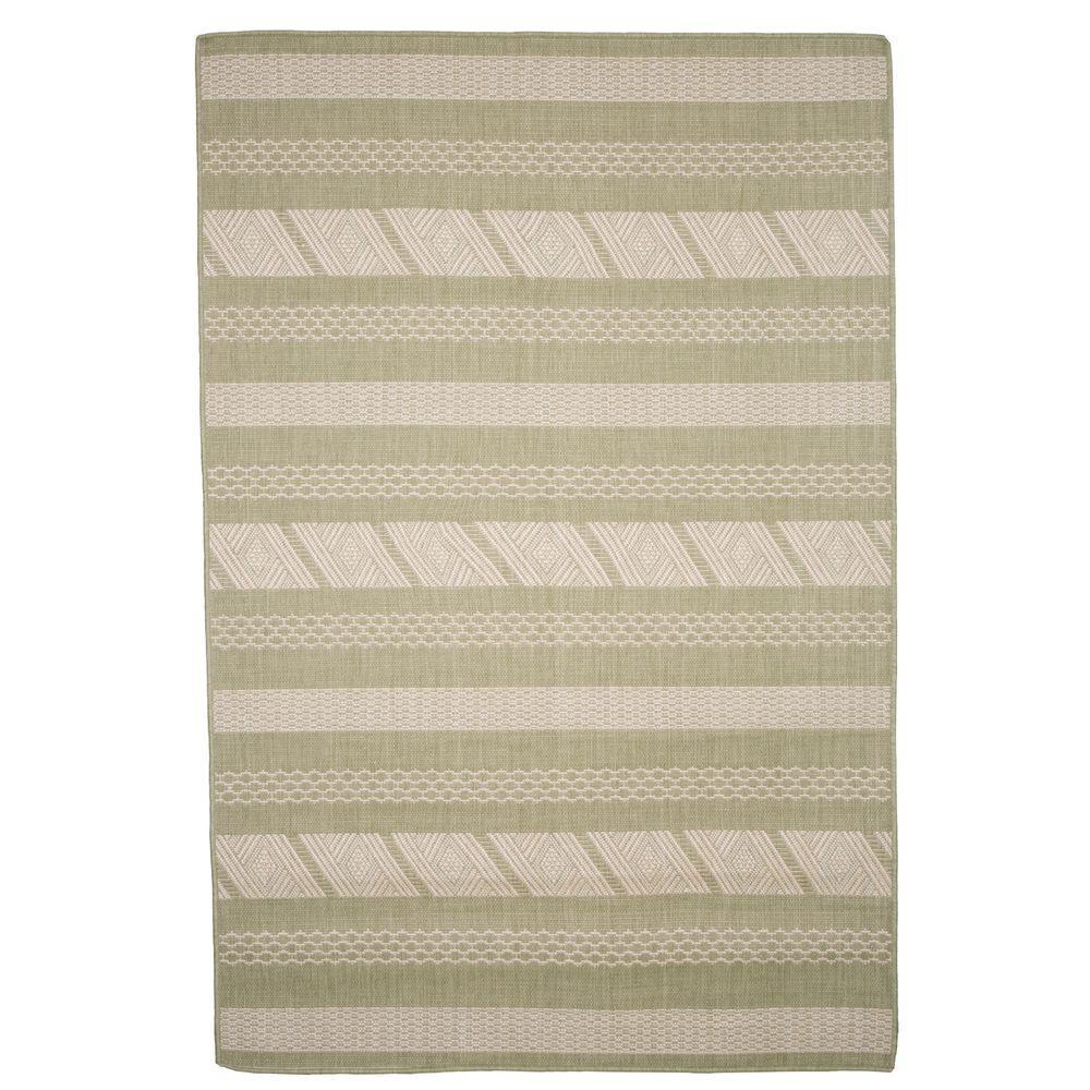 Aztec Stripe Green 5 ft. x 7 ft. 7 in. Indoor/Outdoor Area Rug