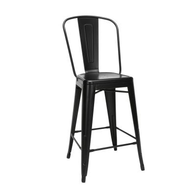 """161 Collection Industrial Modern 4 Pack 26"""" High Back Metal Indoor/Outdoor Bar Stools, in Black"""