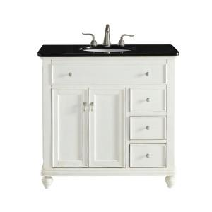 Timeless Home 36 in. W Single Bathroom Vanity in Antique White with Vanity Top in Black with White Basin