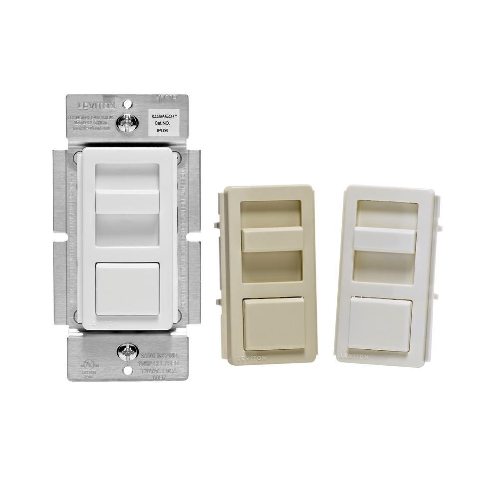 IllumaTech Slide Dimmer for 150-Watt Dimmable LED, 600-Watt Incandescent/Halogen, White/Ivory/Light Almond