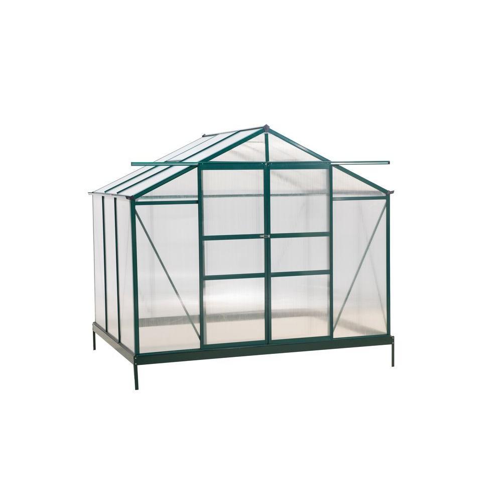 96 in. W x 72 in. D x 80.4 in. H Aluminum Green Double Sliding Door Greenhouse