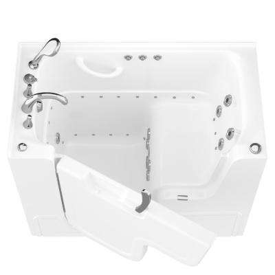 HD Series 53 in. Left Drain Wheelchair Access Walk-In Whirlpool and Air Bath Tub with Powered Fast Drain in White