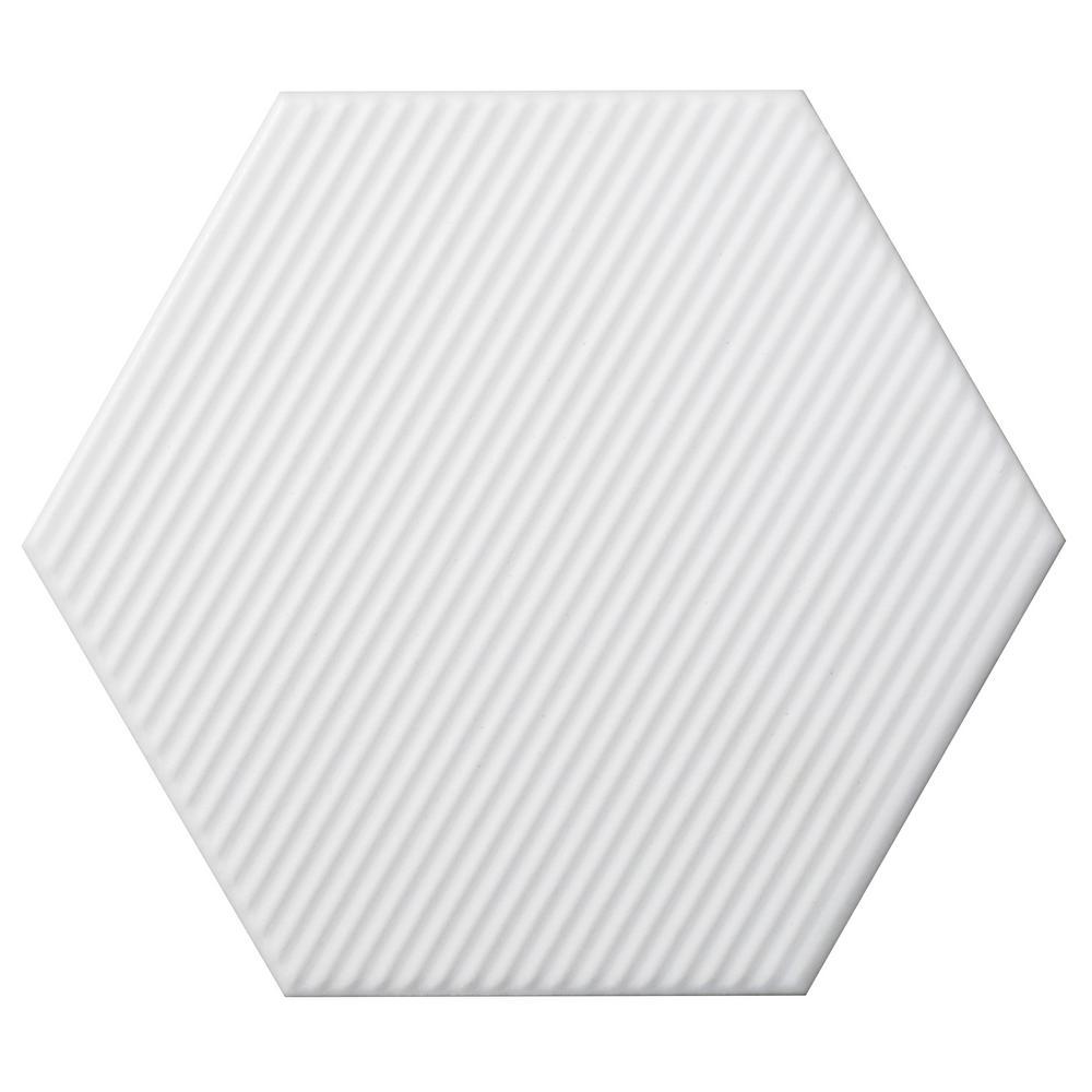 Code White Hexagon Line Matte 5.91 in. x 6.90 in. Ceramic Wall Tile (6.24 sq. ft. / case)