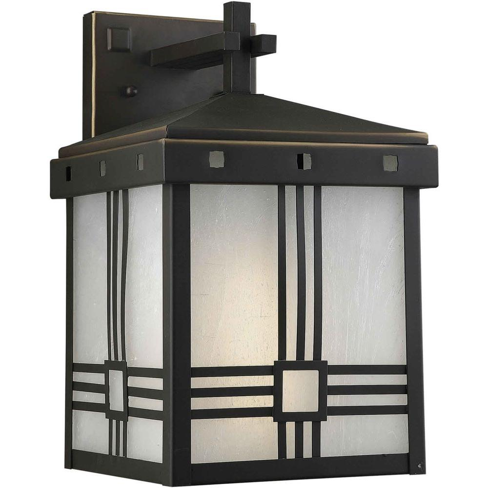 Illumine 1 Light Outdoor Lantern Royal Bronze Finish Frosted Seeded Glass Panels