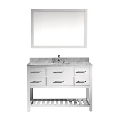 Virtu USA Caroline Estate 49 in. W Bath Vanity in White with Marble Vanity Top in White with Square Basin and Mirror