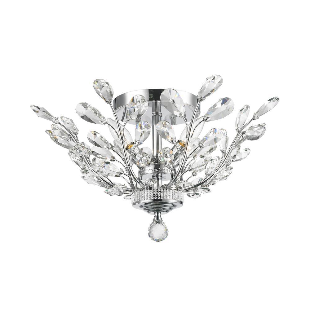 Worldwide Lighting Aspen 4-Light Chrome Crystal Ceiling Semi-Flush Mount Light
