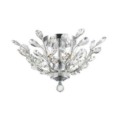 Aspen 4-Light Chrome Crystal Ceiling Semi-Flush Mount Light