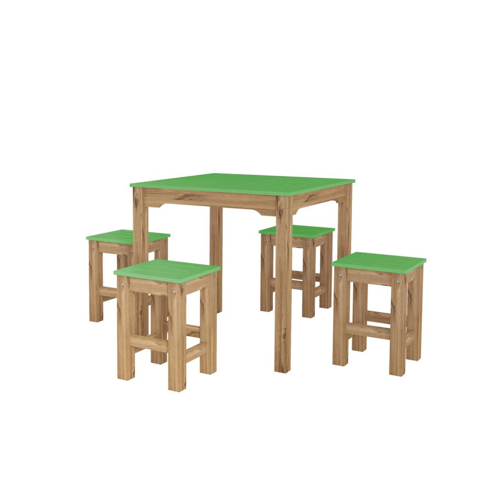 Stillwell 31.5 in. 5-Piece Green and Natural Wood Square Dining Set