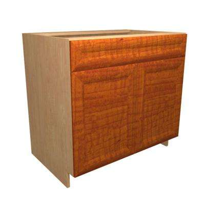 36x34.5x24 in. Dolomiti Deluxe Sink Base Cabinet with Shelf Liner 2 Soft Close Doors and 2 False Drawer Fronts in Cognac