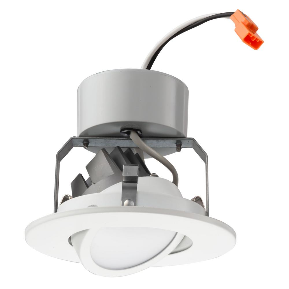 Lithonia Lighting Recessed Downlight: Lithonia Lighting 4 In. Matte White Recessed Gimbal LED