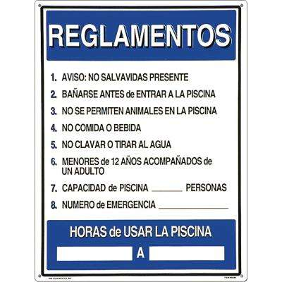 Residential or Commercial Swimming Pool Signs, Spanish Language Reglamentos