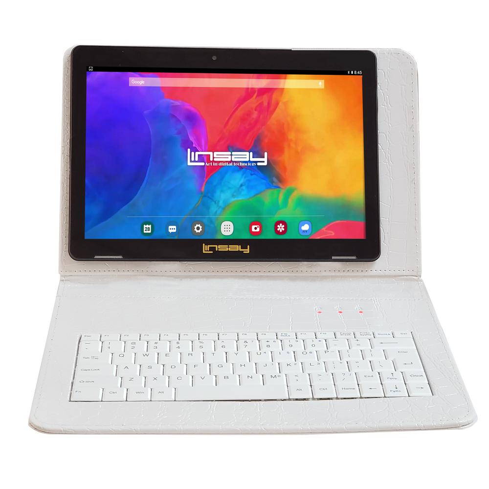 LINSAY 10.1 in. 1280x800 IPS 2GB RAM 16GB Android 9.0 Pie Tablet with White Crocodile Keyboard was $374.99 now $79.99 (79.0% off)
