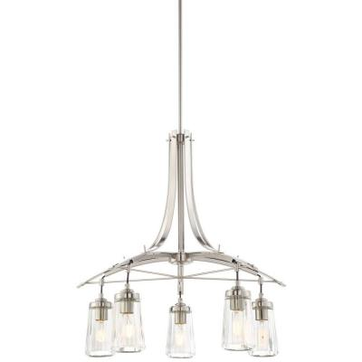 Poleis 5-Light Brushed Nickel Chandelier