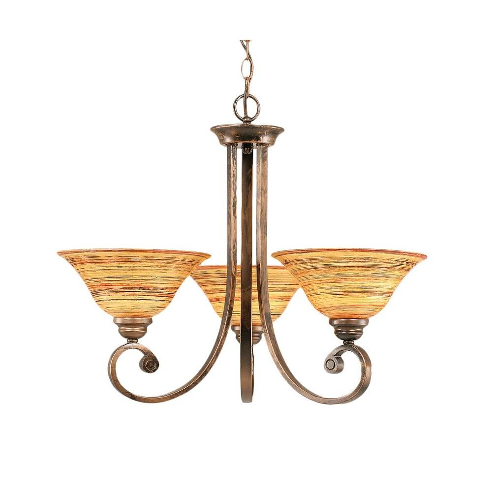 Filament Design Concord Series 3-Light Bronze Chandelier with Firre Saturn Glass Shade