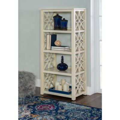 54.5 in. Off White Wood 4-shelf Accent Bookcase with Open Back