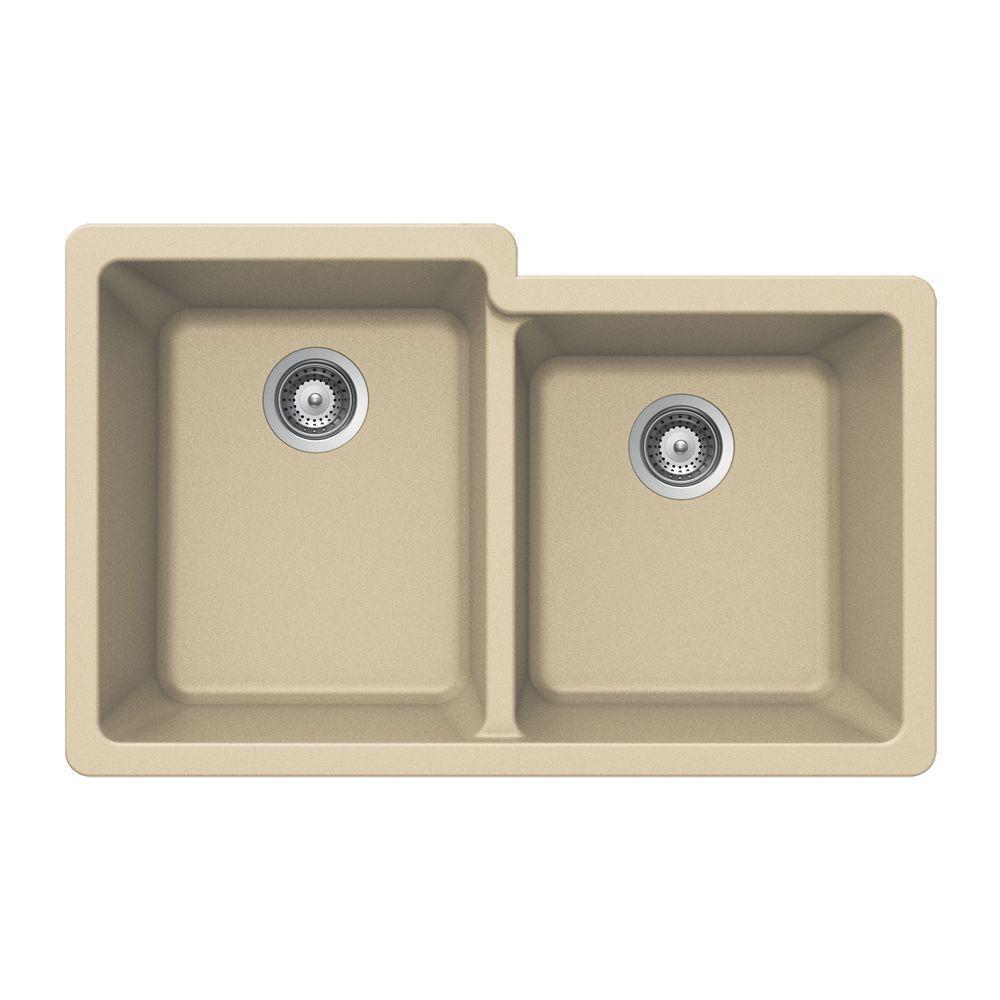 Quartztone Undermount Composite Granite 33 in. Double Bowl Kitchen Sink in Sand