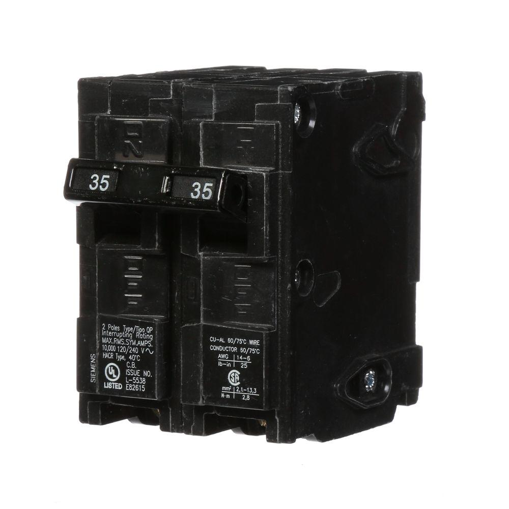 siemens 35 amp double pole type qp circuit breaker q235 the home depot. Black Bedroom Furniture Sets. Home Design Ideas