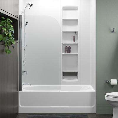 Whiston 32 in. x 56.9375 in. Frameless Fixed Tub Door in Silver Frame without Handle