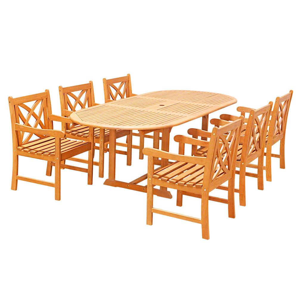 Vifah Eco Friendly 7 Piece Wood Outdoor Dining Set Oval Extension Table And Arm