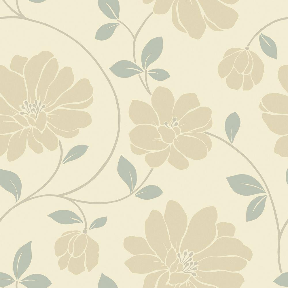 The Wallpaper Company 56 sq. ft. Beige and Grey Large Scaled Modern Floral Trail Wallpaper