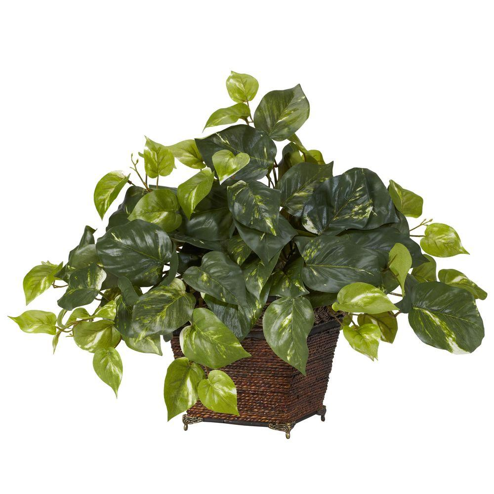 null 17 in. H Green Pothos with Coiled Rope Planter Silk Plant