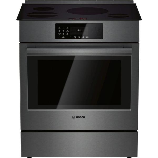 800 Series 30 in. 4.6 cu. ft. Slide-In Induction Range with Self-Cleaning Convection Oven in Black Stainless Steel