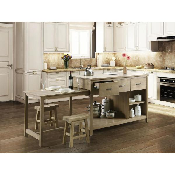 Design Element Garrett Natural Kitchen Island With Slide Out Table Kd 02 The Home Depot
