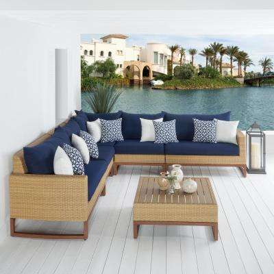 Mili 6-Piece Wicker Patio Sectional Seating Set with Sunbrella Navy Blue Cushions