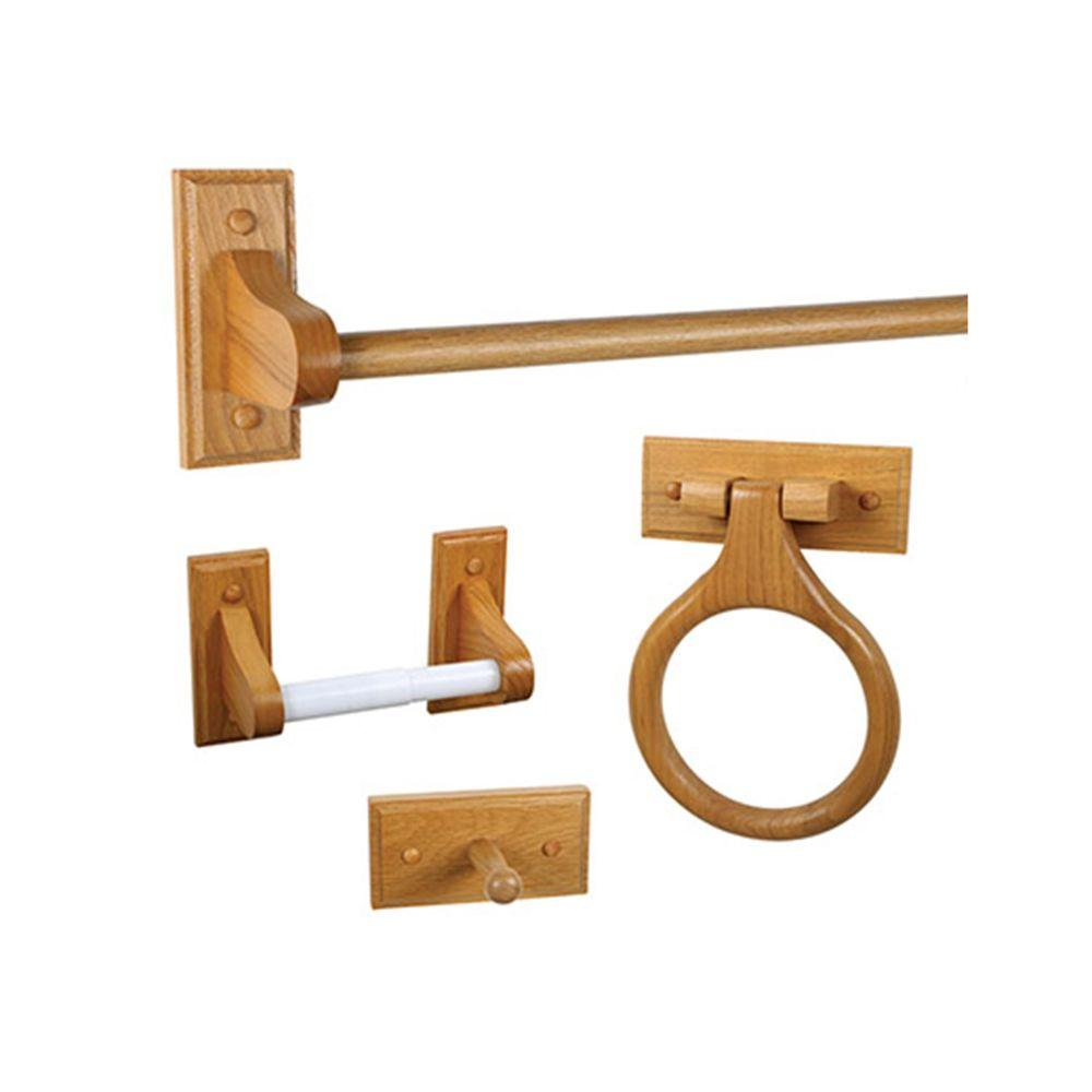 Design House Dalton 4-Piece Bathroom Accessory Kit in Honey Oak ...