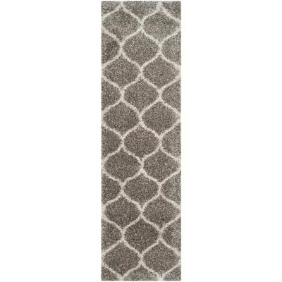 Hudson Shag Gray/Ivory 2 ft. 3 in. x 14 ft. Runner Rug