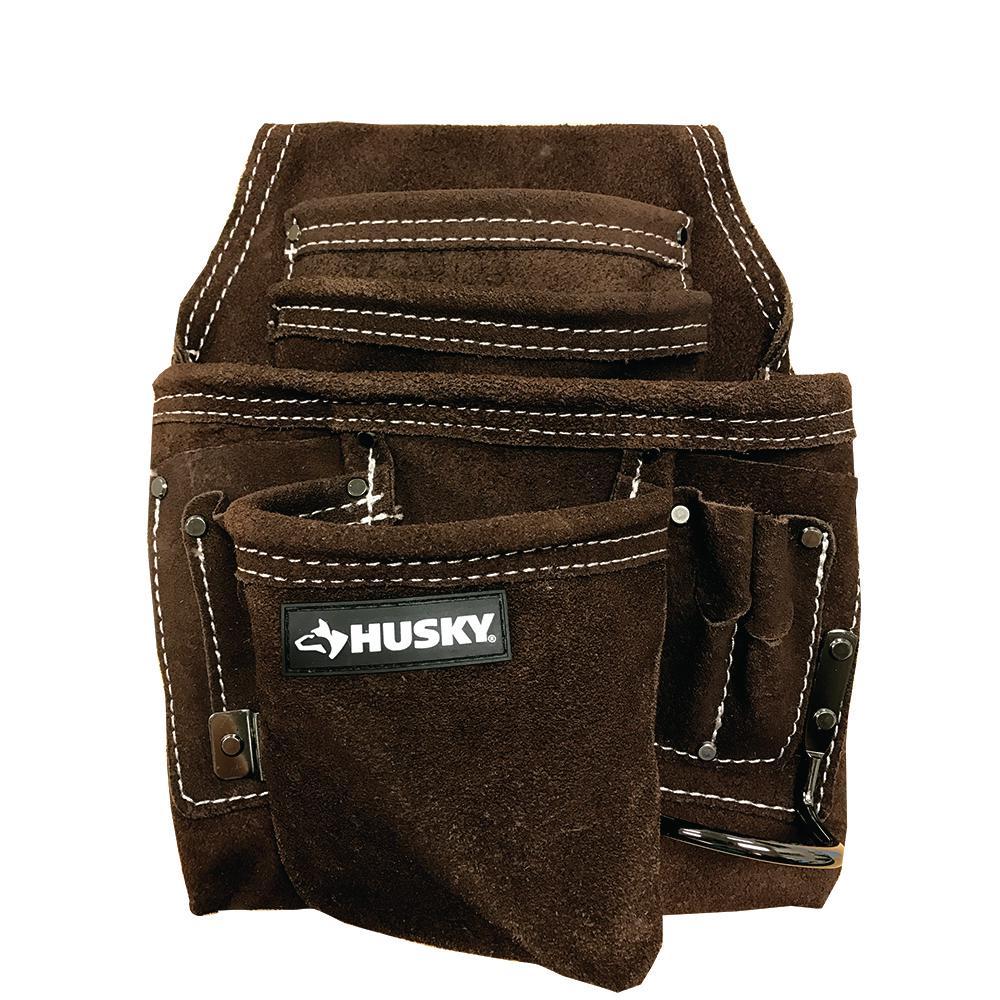 11 in. 10-Pocket Suede Leather Carpenter Tool Bag