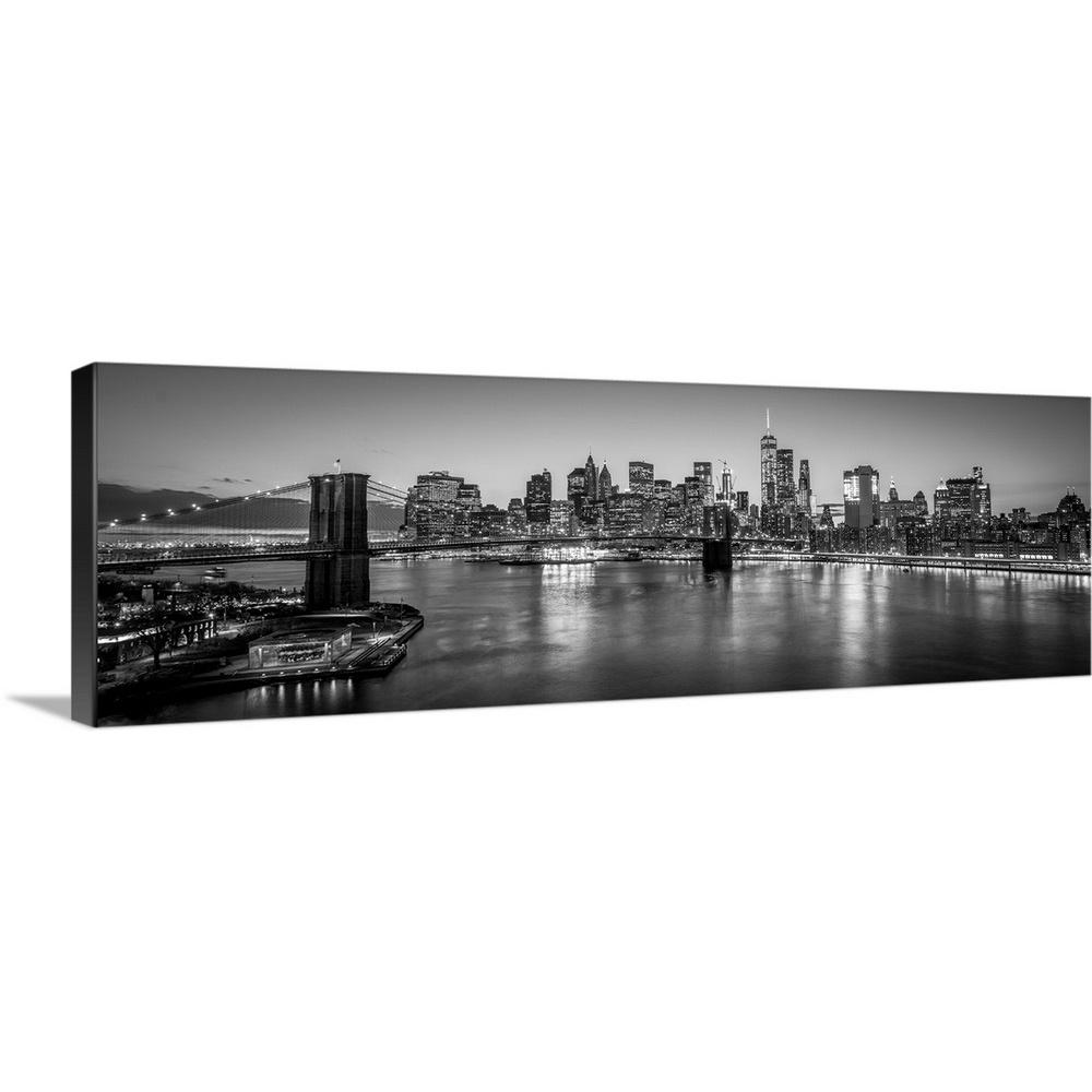 Greatbigcanvas new york city skyline with brooklyn bridge in foreground evening black and white by circle capture canvas wall art 2417950 24 60x20 the