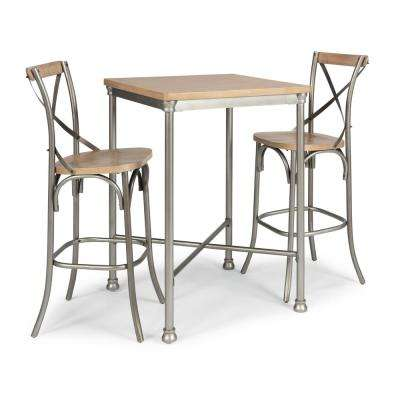 French Quarter 3-Piece White Wash Natural Bar Table and 2-Stools