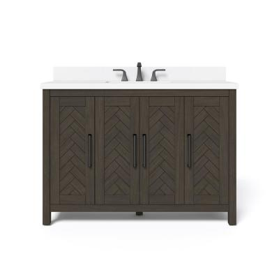 Leary 48 in. W x 34.5 in. H Bath Vanity in Dark Brown with Engineered Stone Vanity Top in White with White Basin